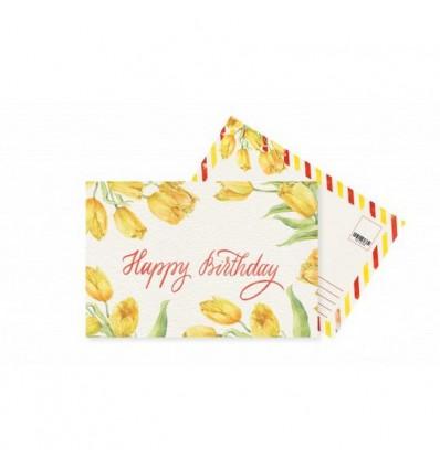 Листівка Mirabella postcards Happy Birthday Yellow Tulips
