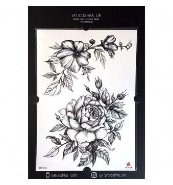 "Тату Tattooshka_ua ""Велика троянда з гілкою"""
