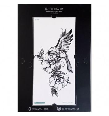 """Тату Tattooshka_ua """"Квіти з птахом"""""""