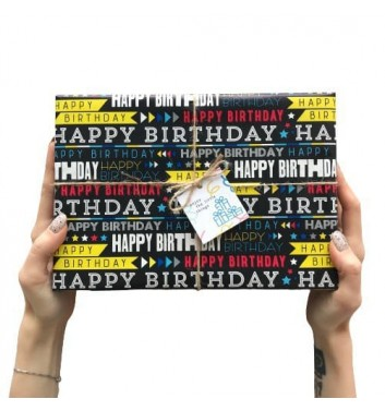 Пакування в папір Happy Birthday Dark blue
