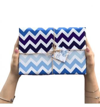 Упаковка в бумагу Blue zigzag