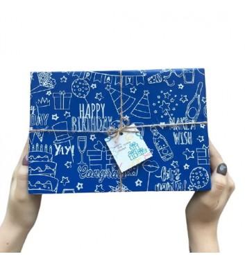 Упаковка в бумагу Happy Birthday Blue